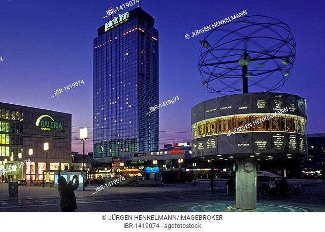 Alexander Platz square at dusk, world clock, Park Inn Hotel, Galeria Kaufhof, Berlin Mitte district, Germany, Europe