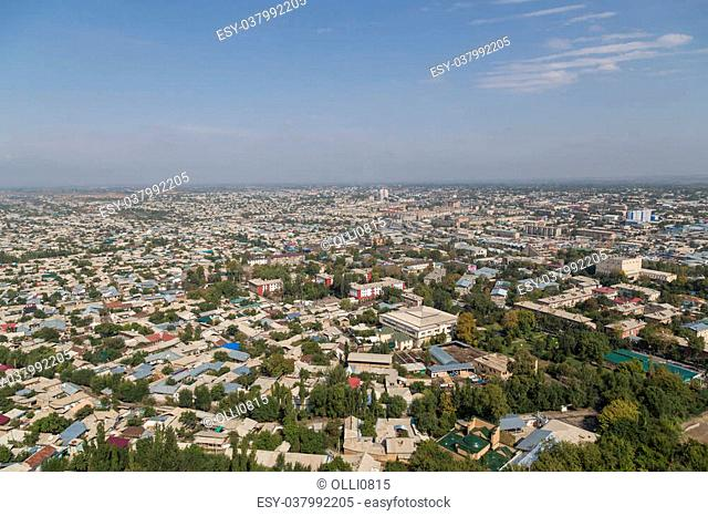 Skyline of the Kyrgyz city Osh as seen from the Sulaiman Mountain
