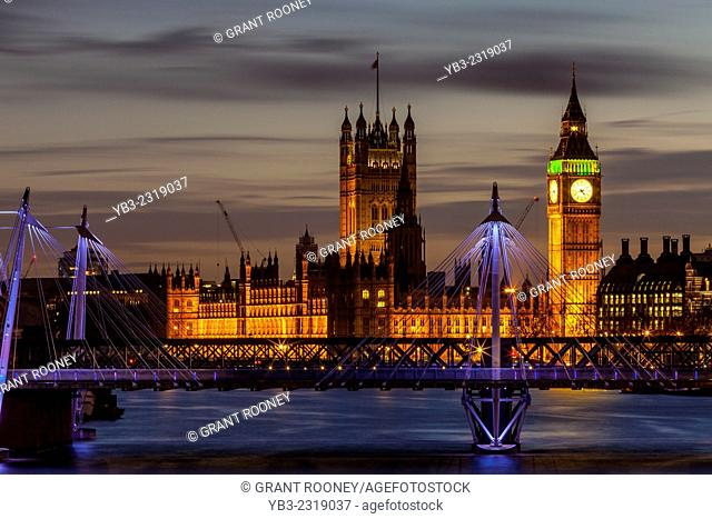 The Houses Of Parliament and The Golden Jubilee Bridges, London, England