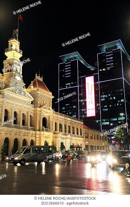 City Hall and Vincom shopping center at night, Saigon, Vietnam, Asia