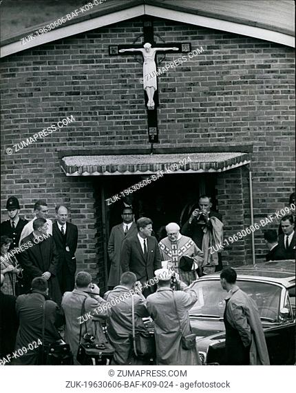 Jun. 06, 1963 - Kennedy Goes To Mass: President Kennedy went to Mass this morning at the Ashdown Forest Church, near Birch Grove