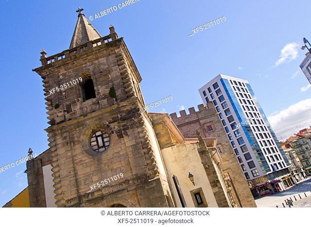 Collegiate of San Juan Bautista, Revillagigedo Palace, Square of Marqués, Plaza del Marqués, Cimadevilla Old Town, Gijón, Asturias, Spain, Europe