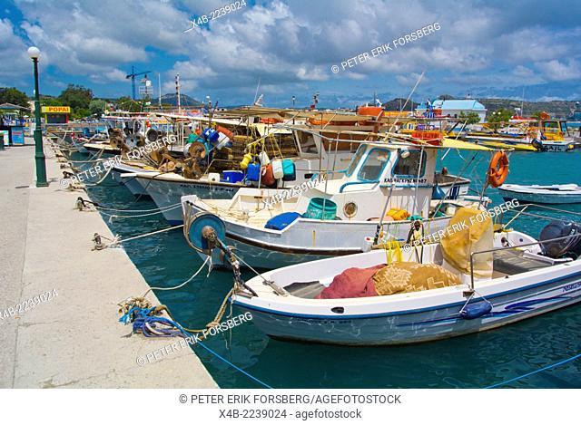 Fishing boats, port, Faliraki resort, Rhodes island, Dodecanese islands, Greece, Europe