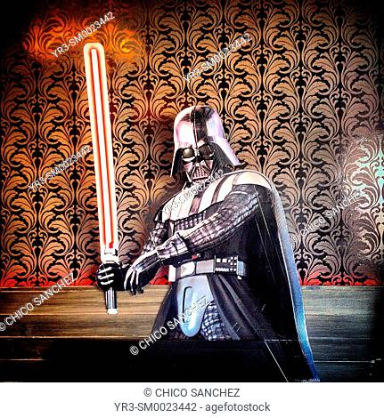 An image of Darth Vader, from Star Wars film decorate a ice cream shop in Colonia Roma, Mexico City, Mexico