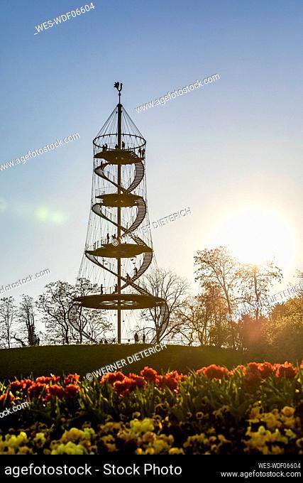 Germany, Baden-Wurttemberg, Stuttgart, Silhouette of Killesberg Tower at sunrise