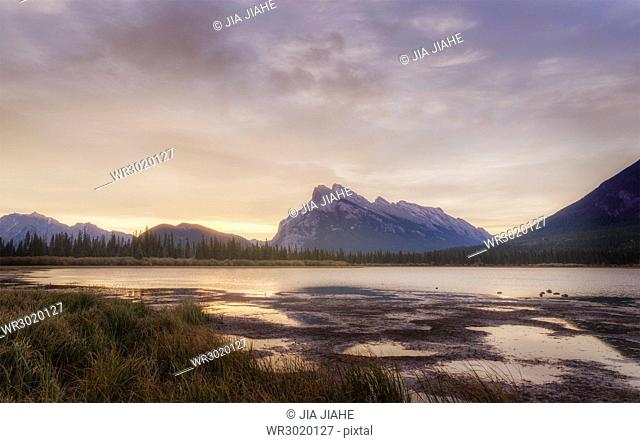 Sunrise over the Vermilion Lake, Banff National Park, UNESCO World Heritage Site, Canadian Rockies, Alberta, Canada, North America