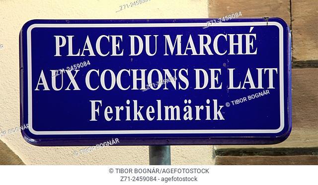 France, Alsace, Strasbourg, street sign