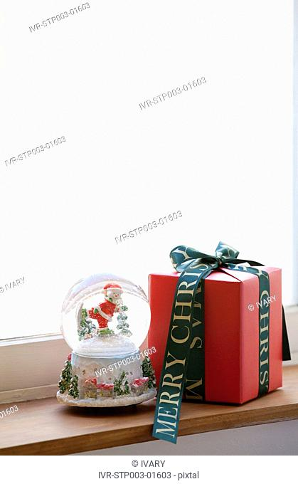 Christmas Snow Globe And Gift Box