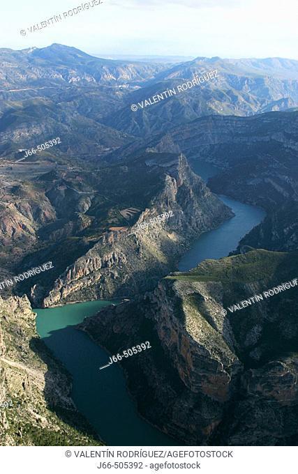 Aerial view of Júcar river between Cortes de Pallás and Dos Aguas. Valencia province, Comunidad Valenciana, Spain