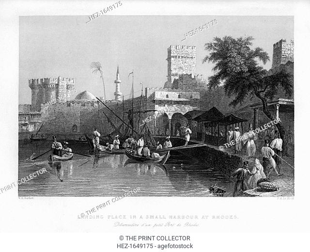 A landing place in a small harbour at Rhodes, Greece, 1841. From Syria, the Holy land and Asia Minor, volume II, by John Carne, published by Fisher, Son & Co