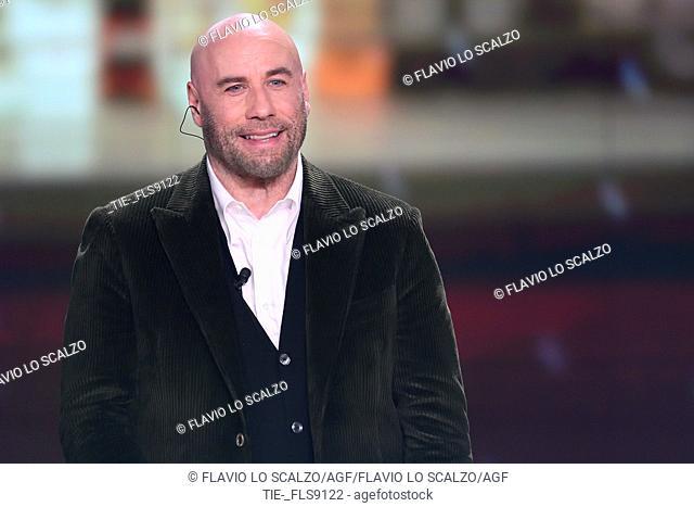 The actor John Travolta during the tv show Che tempo che fa, Milan, ITALY-20-10-2019