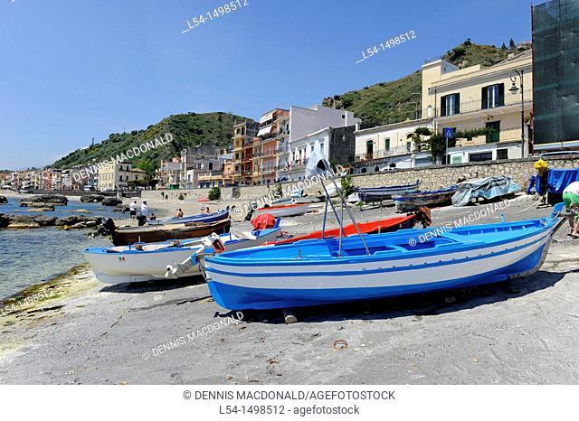 Fishing Boats Taormina Sicily Mediterranean Sea Island
