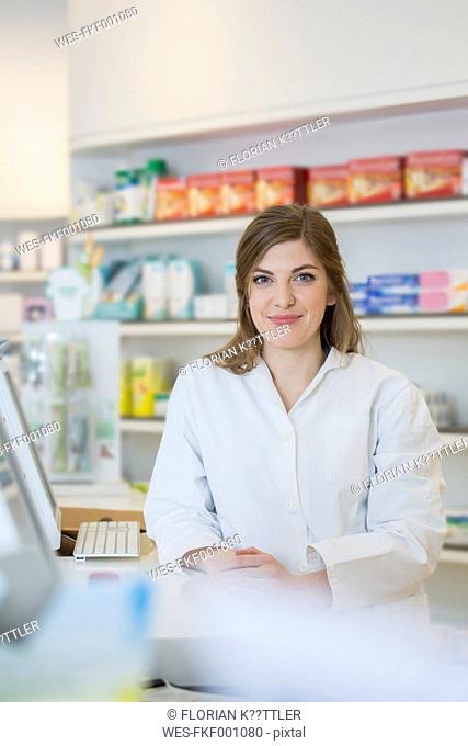 Portrait of smiling female pharmacist