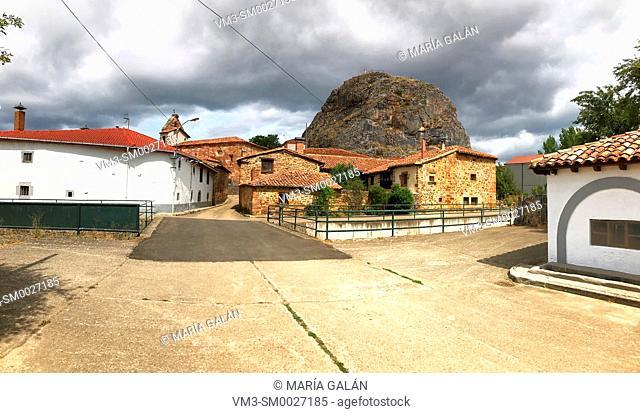 Street, panoramic view. Muda, Palencia province, Castilla Leon, Spain