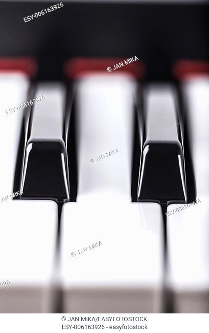 Detail of piano musical instrument keyboard
