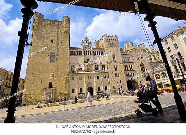 Archbishop's Palace, Town Hall Square, Narbonne. Aude, Languedoc-Roussillon, France