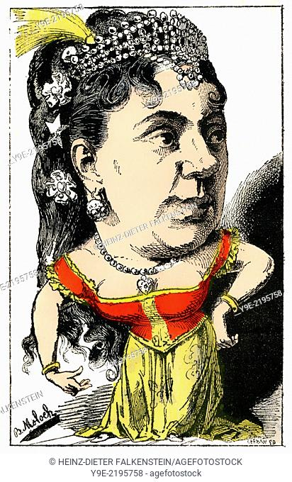 Thérésa or Emma Valladon, 1837 - 1913, a French singer, Political caricature, 1882, by Alphonse Hector Colomb pseudonym B