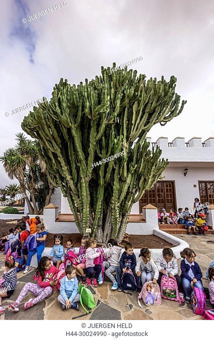 Molina de Antigua, Windmill, School Class, Fuerteventura, Canary Islands, Spain