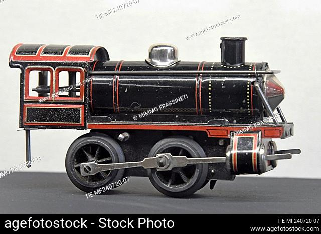 Locomotive in the exhibition titled ' Per gioco' from the collection of antique toys of the Capitoline Superintendence. It presents over 700 specimens of...