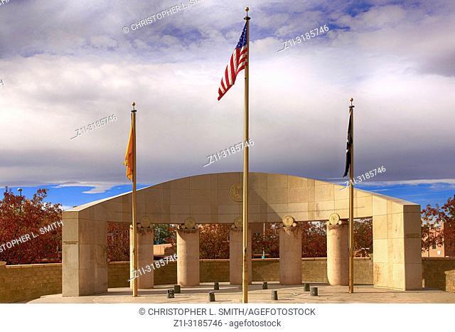 The War Memorial opposite Galisteo St in Santa Fe, New Mexico USA