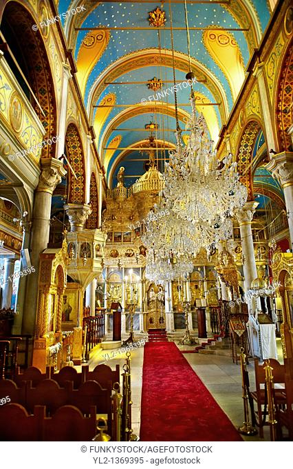 The unusual Baroque interior of the Greek Orthodox Metropolitan Cathedral of the Metamorphosis, Ermoupolis, Syros Island  S  , Greek Cyclades Islands