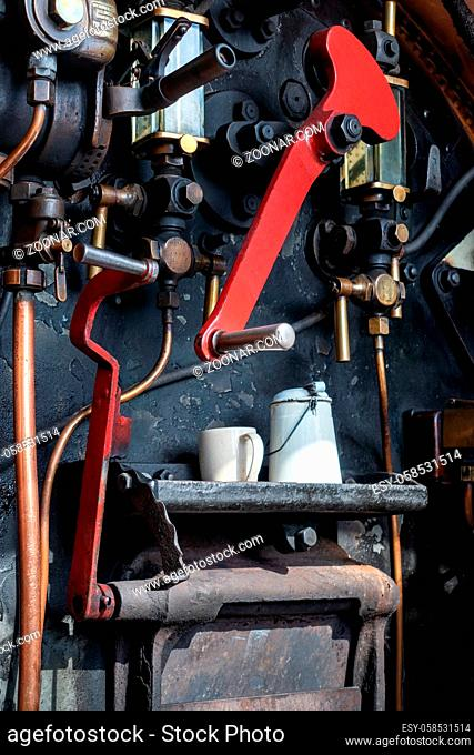 EAST GRINSTEAD, WEST SUSSEX/UK - AUGUST 30 : Close-up cab of steam locomotive in East Grinstead West Sussex on August 30, 2019