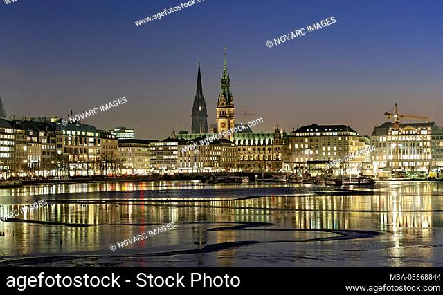 Alster Panorama, Jungfernstieg, city centre, ice floes, winter, Hanseatic City of Hamburg, Germany