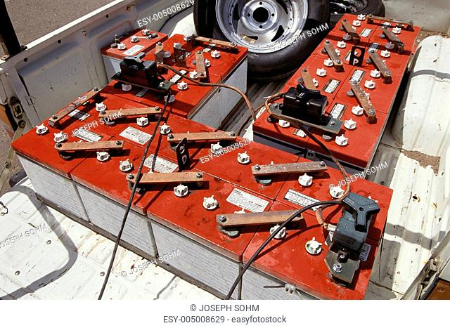 Batteries in bed of electric powered truck