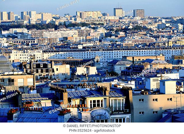 France, Paris, hill of Montmarte, panoramic view on the rooftops of Paris