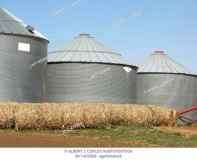 Modern grain storage bins, midwestern United States