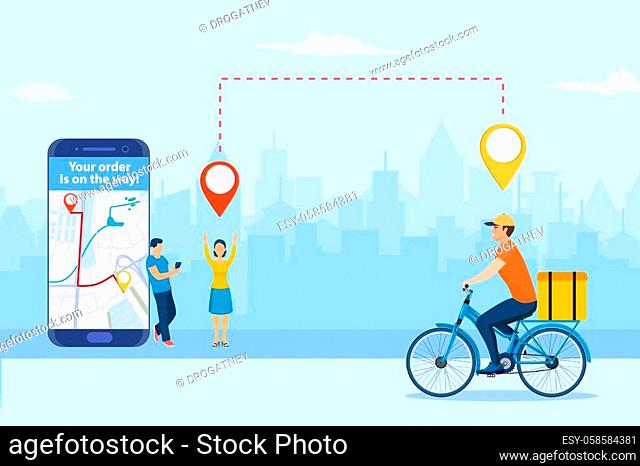 online delivery service concept. men order food via smartphone. delivery home and office. bicycle courier. template, mobile app, poster, banner