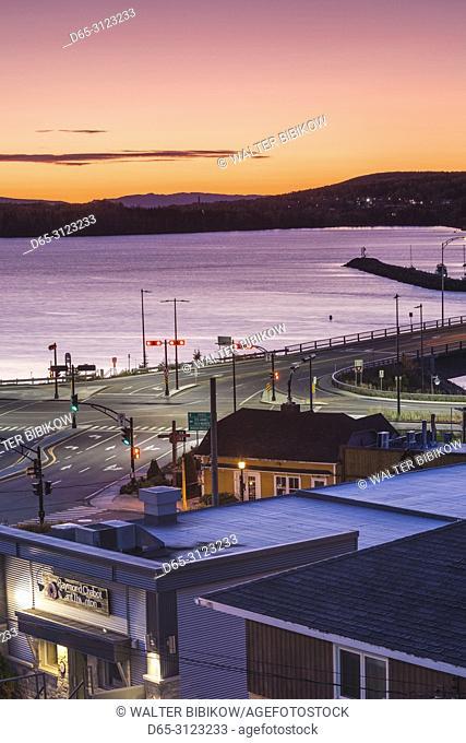 Canada, Quebec, Gaspe Peninsula, Gaspe, elevated harbor view