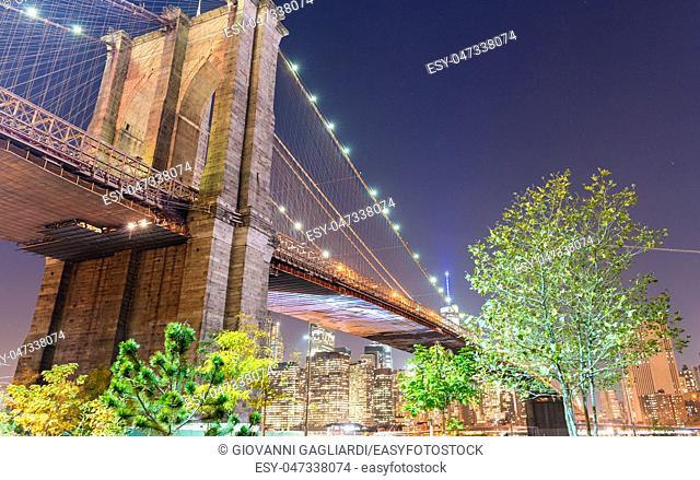 Magnificence of Brooklyn Bridge at night, New York City