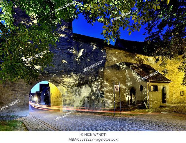 Rothenburg ob der Tauber, the mighty Spitaltor at night
