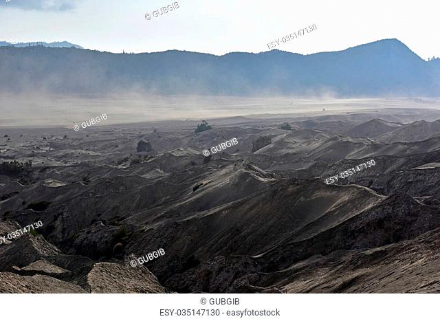 Layer Volcanic ash as sand ground of Mount Bromo volcano the magnificent view of Mt. Bromo located in Bromo Tengger Semeru National Park, East Java, Indonesia