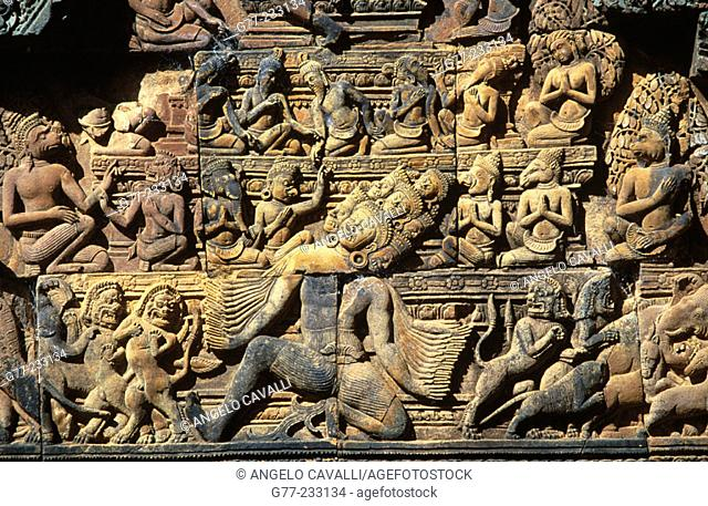 Relief in the Banteay Srei Temple in Angkor. Cambodia