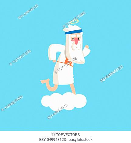 Cute god character standing preparing for a marathon. Almighty bearded man running on fluffy white cloud. Christian theme cartoon illustration for children