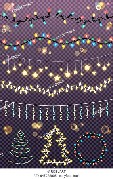 Garland ropes with many lighted colourful bulbs and garlands twisted in Christmas trees and circle on transparent background
