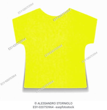 Flat yellow T-shirt sticky note, isolated on white background, with shadow on bottom