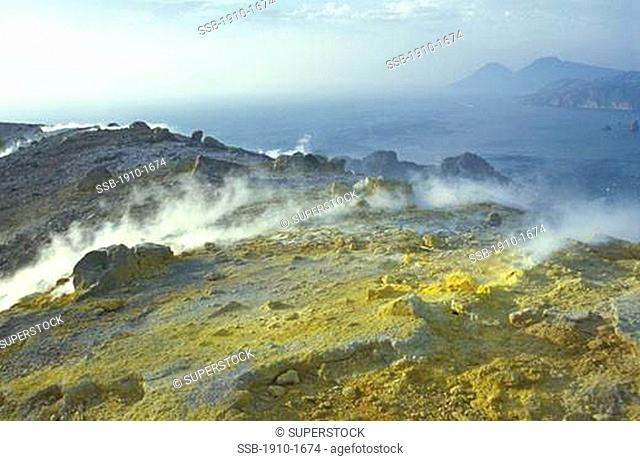Detail of sulphuric volcanic activity VulcanoVulcano is apart from Stromboli the Eolian island with the most recent volcanic activity eruption of 1888-1890 It...