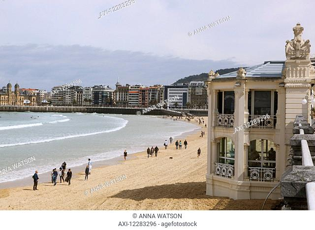 The wide sands of La Concha beach in this popular resort town which is a European Capital of Culture in 2016; San Sebastian, Spain
