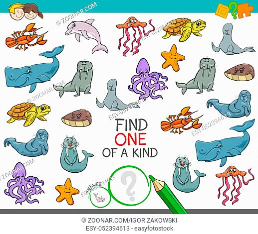 Cartoon Illustration of Find One of a Kind Picture Educational Activity Game for Kids with Marine Life Animal Characters