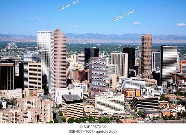 Aerial of the Downtown Denver Skyline with the Rocky mountains in the background