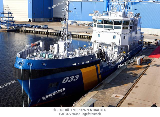 View of the Swedish coast guard ship during its official delivery at the Peene shipyard in Wolgast, Germany, 28 February 2013