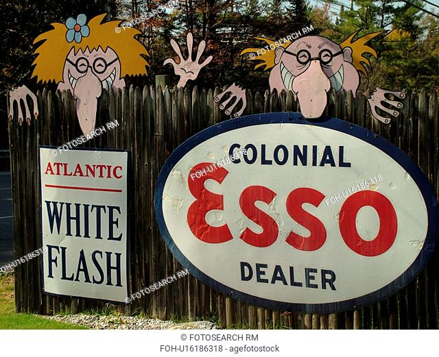 Littletown, NH, New Hampshire, Antique Gas Station Signs, ESSO, funny faces on the fence