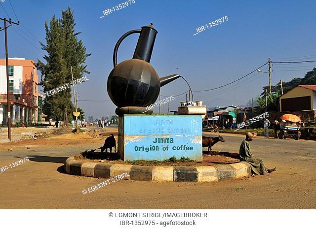 Coffe pot roundabout at Jimma, Kaffa region, Oromia, Ethiopia, Africa