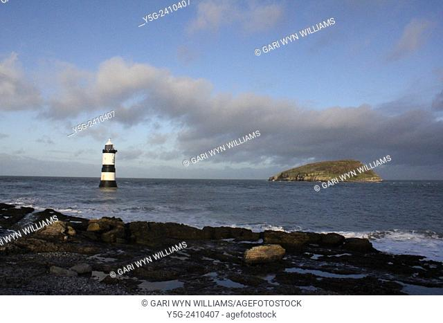 Trwyn Du Lighthouse off penmon in anglesey north wales great britain uk