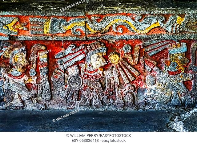 Ancient Carvings Aztec Eagle Warriors Palace Templo Mayor Mexico City Mexico. Great Aztec Temple created from 1325 to 1521