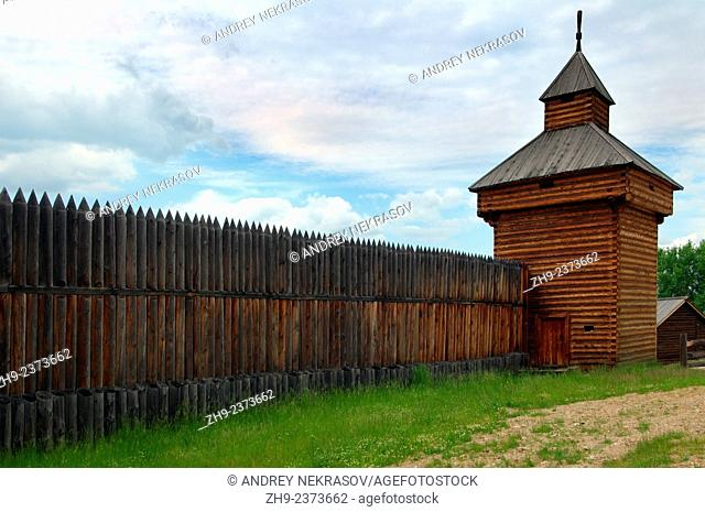 """Spassky passable tower of the Ylym jail, 1667. """"""""Taltsa's"""""""" (Talzy) - Irkutsk architectural and ethnographic museum"""