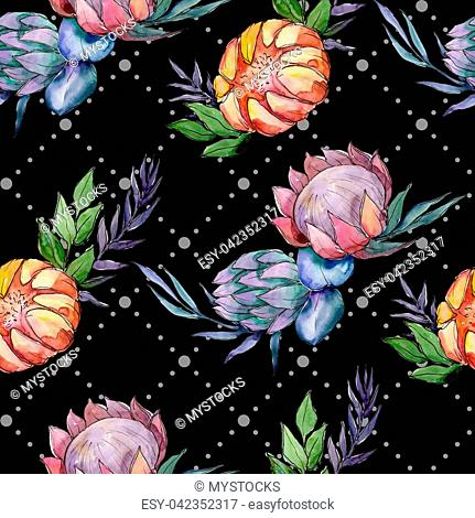 Watercolor colorful bouquet flowers. Seamless background pattern. Fabric wallpaper print texture. Aquarelle wildflower for background, texture, wrapper pattern
